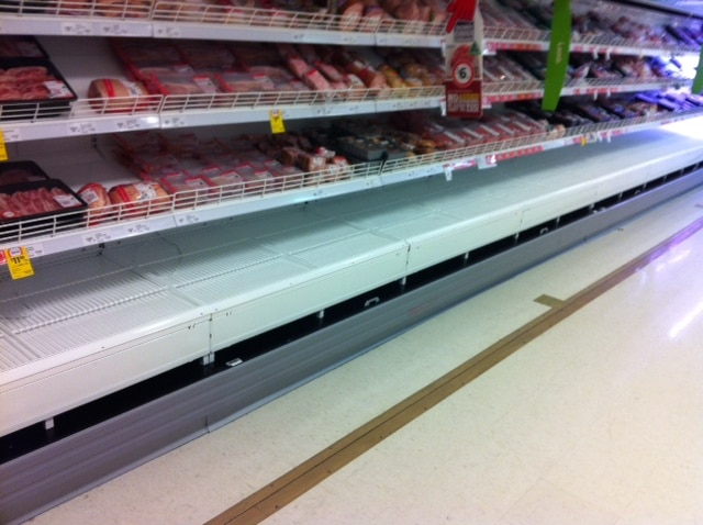 Meat case with electrostatic spray and fabrication works completed onsite